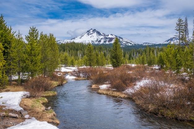 Faszinierende aufnahme eines schönen schneebedeckten felsigen parks