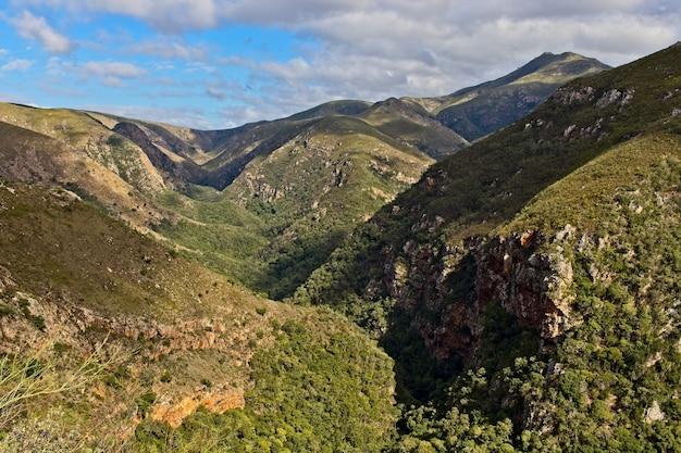 Faszinierende gebirgslandschaft bedeckt im grünen unter dem bewölkten himmel