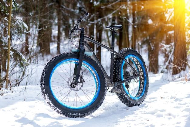 Fatbike im winterwald an einem sonnigen tag
