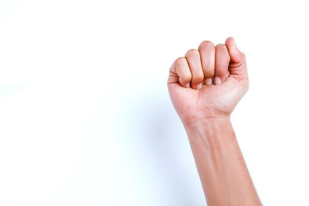 Faust hoch, erhobene faust oder geballte faust. konzept von anspruch oder protest