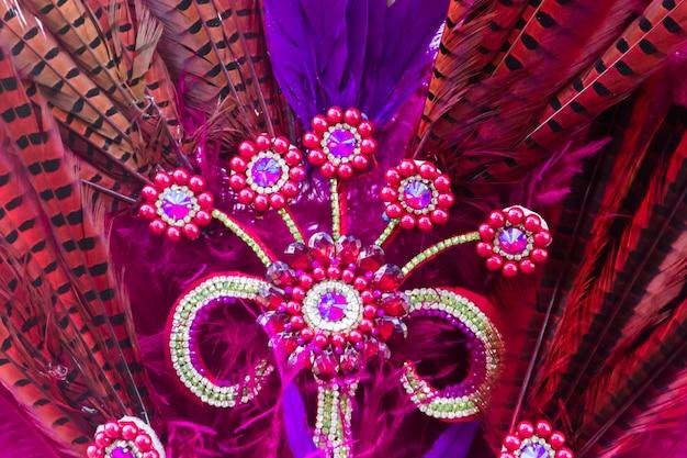 Federn und stickereien mit brillanten für den karneval