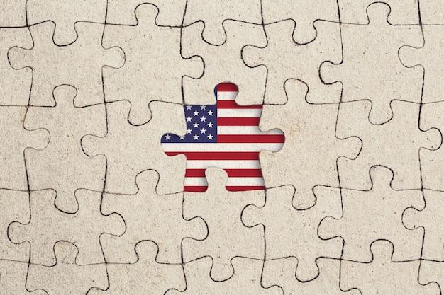 Fehlendes puzzlestück und usa-flagge