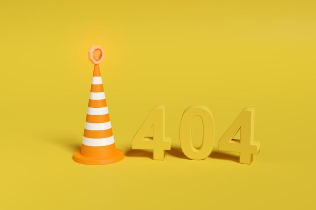 Fehler 404. nummer 404 in drei dimensionen neben einem sicherheitskegel.