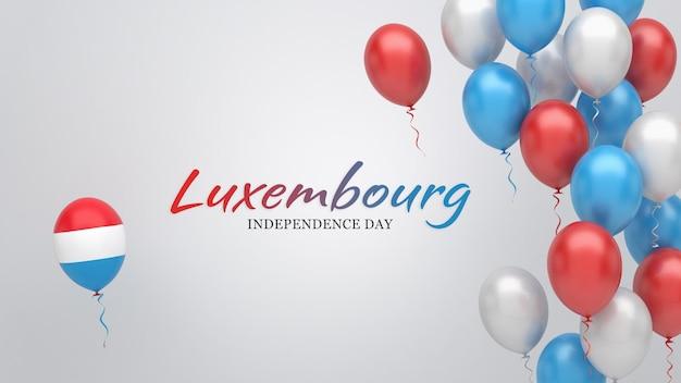 Feierbanner mit luftballons in den farben der luxemburgischen flagge.