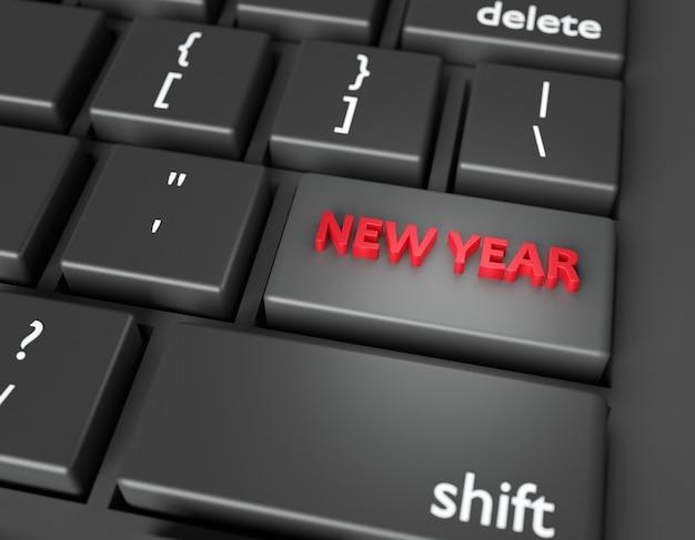 Feierkonzept words new year sie auf knopf der computertastatur