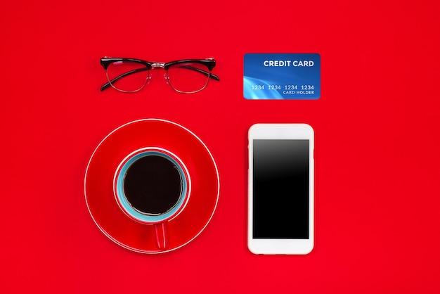 Feiertags-online-shopping-konzept. ansicht von oben mit kopienraum