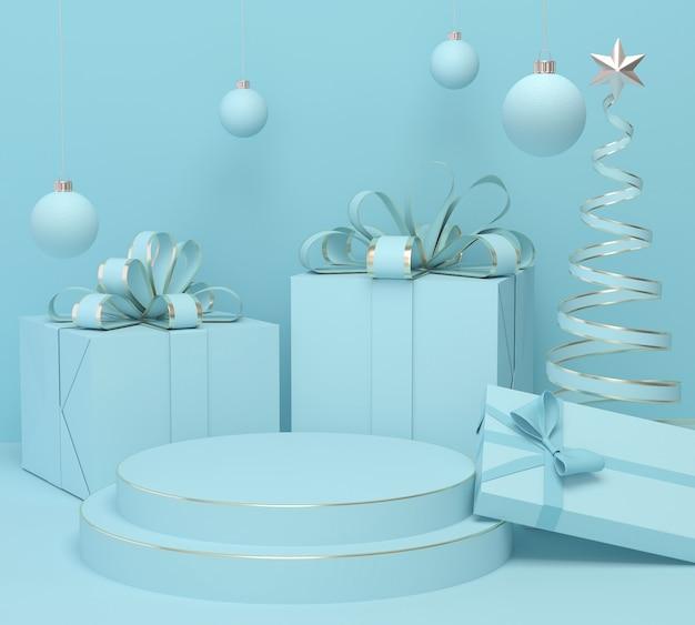 Feiertags-weihnachtspastellfarbhintergrund mit einem geschenkbox- und podiumausstellungsstand, wiedergabe 3d.