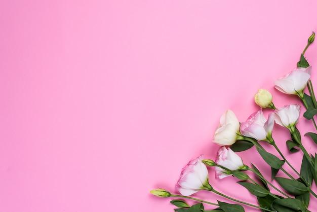 Feld zusammensetzung mit dem leeren raum in der mitte, die von blühendem rosa eustoma, ebenenlage gemacht wird. dekorative mit blumenecken auf rosa hintergrund.