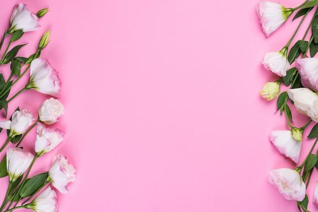 Feld zusammensetzung mit dem leeren raum in der mitte, die von blühendem rosa eustoma, ebenenlage gemacht wird. floral dekorative ecken hintergrund.