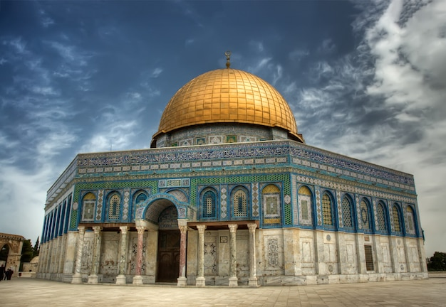 Felsendom (al aqsa mosque), ein islamischer schrein auf dem tempelberg in jerusalem, israel