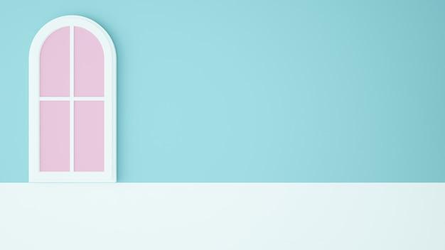 Fenster-papierkunstkonzept pastellfarbhintergrund wiedergabe 3d
