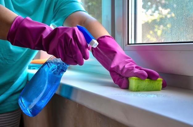 Fenster putzen. weibliche hände in handschuhen halten sprühflasche mit glasreiniger und schwamm.
