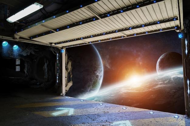 Fensteransicht von planetenerde von einer pendellaufbahn