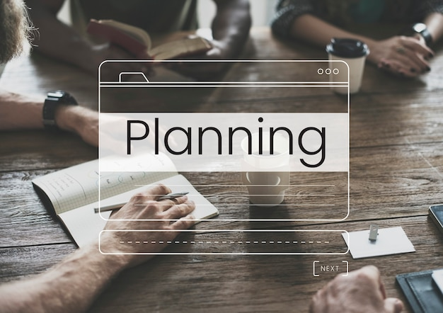 Fenstergrafik für business planning message box