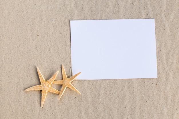 Ferienstrand mit muscheln, seesternen und einer leeren postkarte