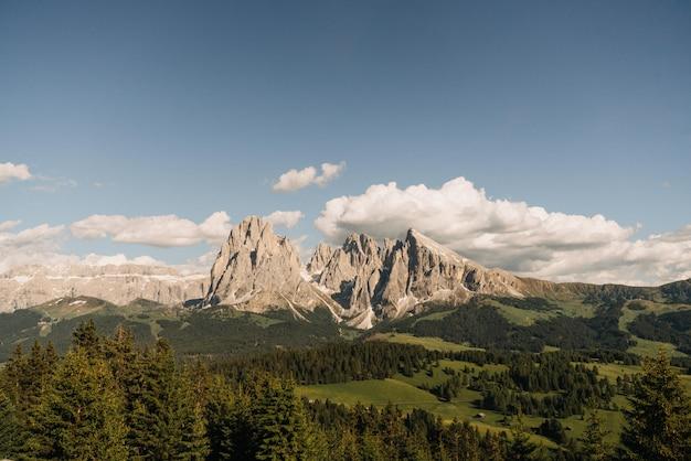 Ferne aufnahme von hohen bergen, umgeben von bäumen unter einem klaren blauen himmel mit weißen wolken
