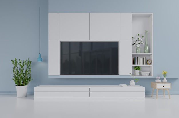 Fernsehapparat auf dem kabinett im modernen wohnzimmer auf blauem wandhintergrund