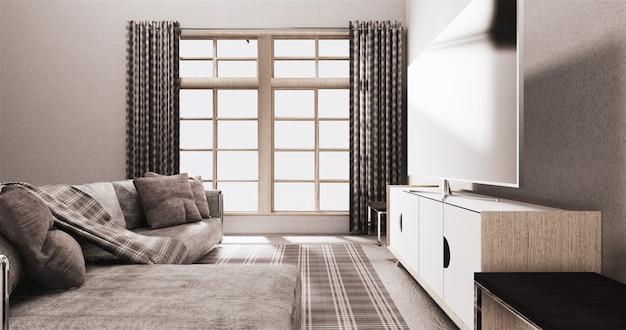 Fernsehapparat auf dem kabinett im modernen wohnzimmer auf weißem wandhintergrund
