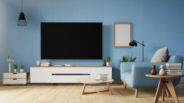 Fernsehapparat auf stand im modernen wohnzimmer mit sofa, tabelle, blume und anlage auf hölzerner lebender korallenroter farbwand. lebende koralle, wiedergabe 3d.