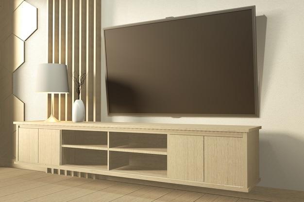 Fernsehapparat auf wand und hölzernem kabinett in den japanischen minimalen designen des modernen leeren raumes. 3d-rendering
