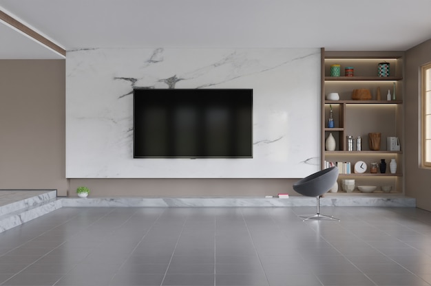 Fernsehapparat im modernen wohnzimmerinnenraum