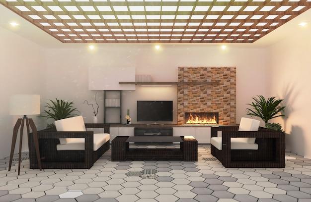 Fernsehdekoration auf moderner lebender grauer und weißer hexagonfliese, japanische art.