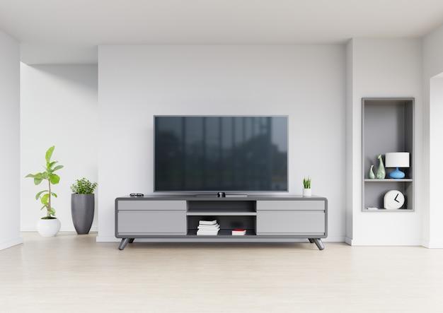 Fernsehdesign auf modernem innenraum des kabinetts mit anlagen