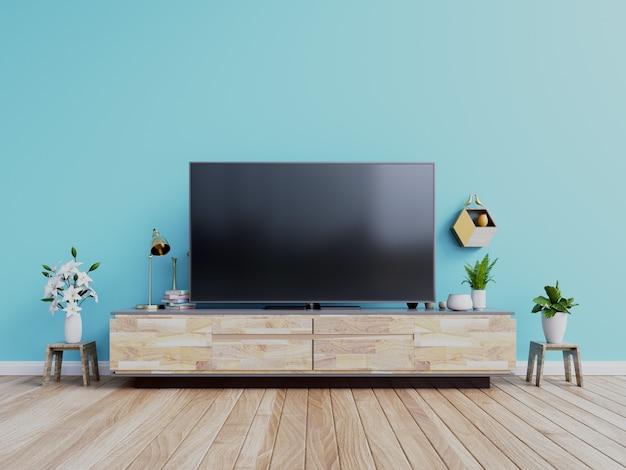 Fernsehdesign auf modernem innenraum des kabinetts