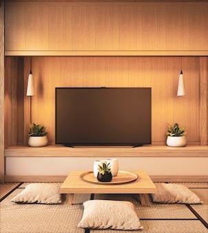 Fernsehen auf japanischem design der leeren hölzernen wand auf wohnzimmerzenart wiedergabe 3d