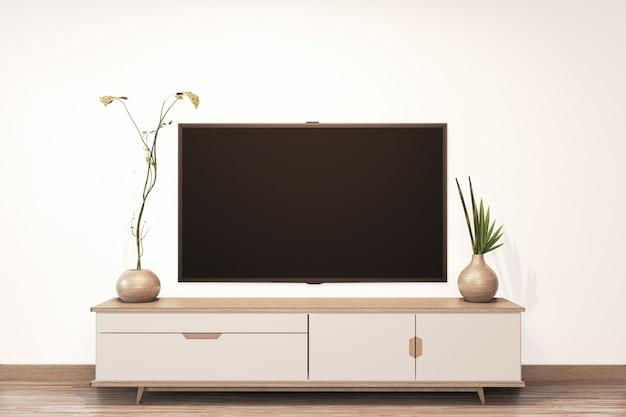 Fernsehen auf leerem wandhintergrund und hölzernem japaner des kabinetts auf wohnzimmerzenart
