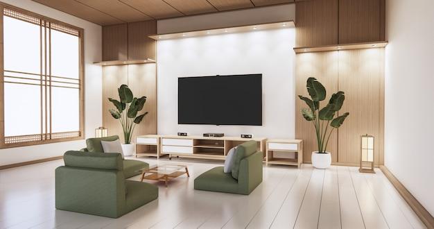 Fernseher auf leerer wand und wand hölzernes japanisches design auf wohnzimmer zen-stil