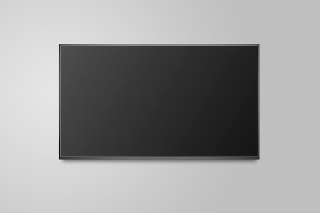 Fernseher auf weißer wand, tv 4k flachbildschirm lcd oder oled, plasma realistische illustration, schwarzes leeres hd-monitor-modell.