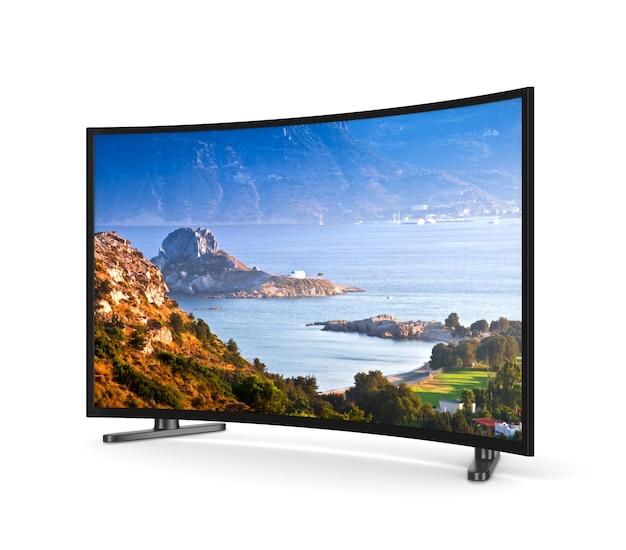 Fernsehgerät mit gebogenem bildschirm isoliert