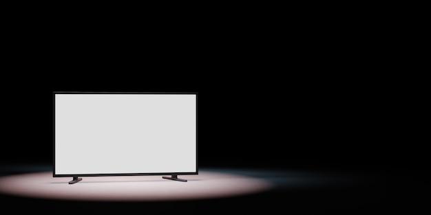 Fernsehgerät mit weißem leerem bildschirm im scheinwerferlicht isoliert