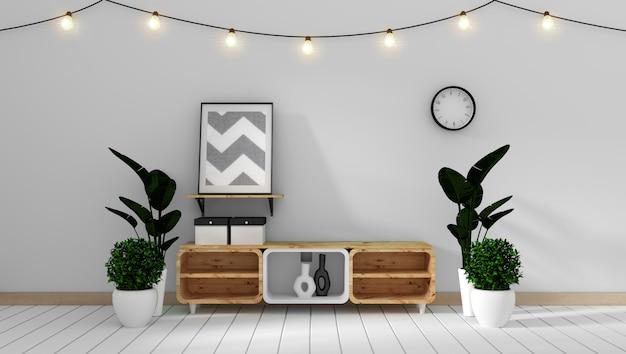 Fernsehkabinett in den minimalen designen des modernen weißen zenartraumes, wiedergabe 3d