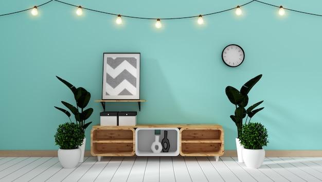 Fernsehkabinett in den minimalen entwürfen des modernen zenminzeraumes, wiedergabe 3d