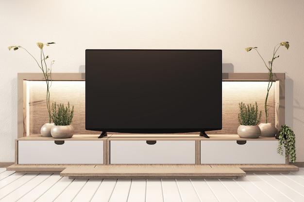 Fernsehkabinett in modernem leerem raumwandregal verstecktem hellem japaner