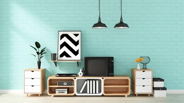 Fernsehmodell auf tadelloser wand im japanischen wohnzimmer. 3d-rendering