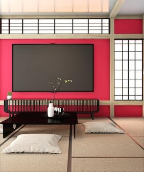 Fernsehraum, smart-tv an der roten wand zen-raum sehr japanischer schweinestall und tatami-boden. 3d-rendering