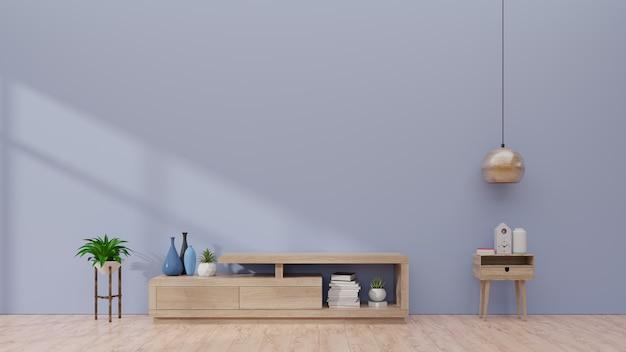Fernsehregal im modernen leeren raum, minimales design, wiedergabe 3d