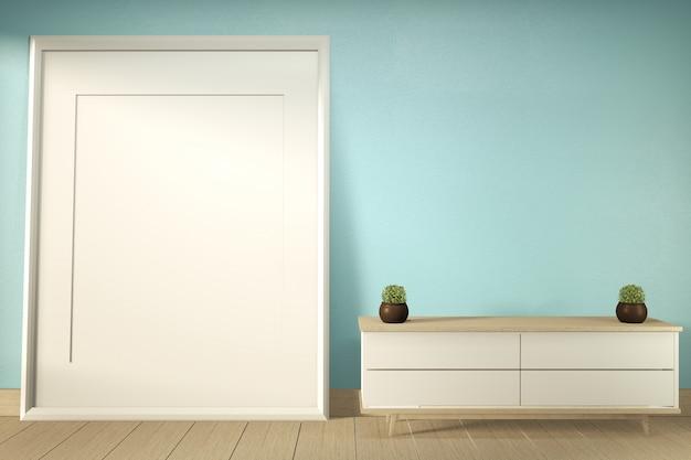 Fernsehregal in der modernen tropischen art des tadellosen raumes - leerer rauminnenraum - minimales design. 3d-rendering