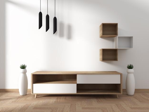 Fernsehschrank im modernen, leeren raum im japanisch - zen - stil, minimalistisches design. 3d-rendering