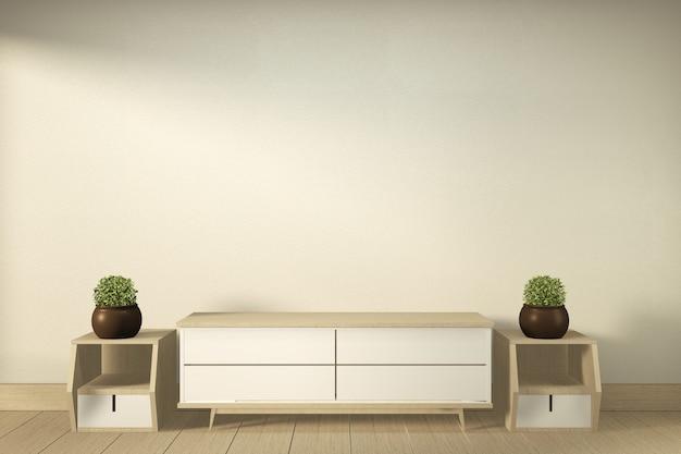 Fernsehschrank im modernen leeren raum japanisch - zenart, minimale designe. 3d-rendering