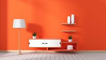 Fernsehschrank im roten modernen Raum, minimalistisches Design, Zen-Stil. 3D-Rendering