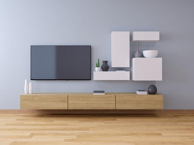 Fernsehstandplatz und modernes innenraumdesign des wohnzimmers