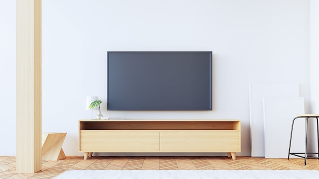 Fernsehwand im wohnzimmer / in der wiedergabe 3d