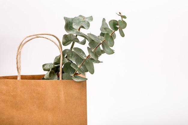 Fertigen sie braunen papiereinkaufstaschen-weißhintergrund frühlingskonzept an