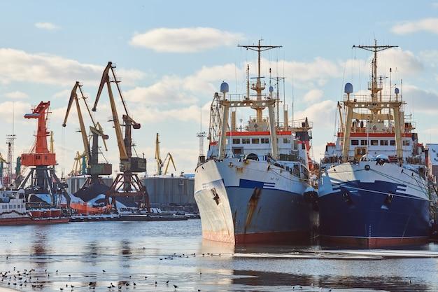 Festgemachte frachtschiffe und hafenkräne im hafen. seehafen, frachtcontainerhof, containerschiffsterminal, werft. wirtschaft und handel, logistik