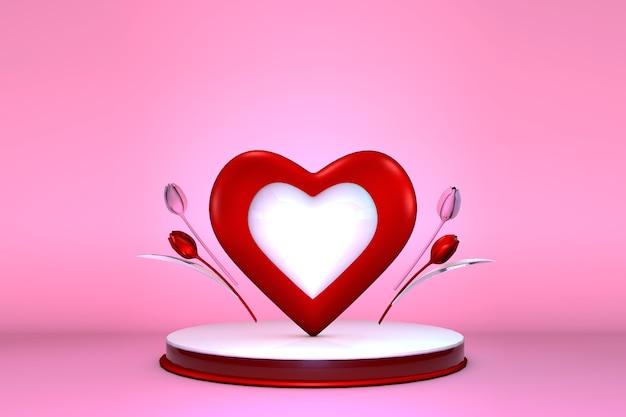 Festliche 3d-szene des glücklichen valentinstags für ein grußplakatdekor mit raum für text, komposition rotes herz auf einem zylindrischen podium mit 3d-rosa tulpen