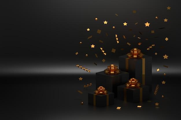 Festliche geschenkboxen mit goldenen schleifen und fallendem konfetti auf schwarzer oberfläche